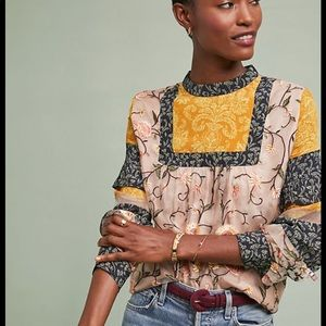 Anthropologie Embroidered patchwork top new